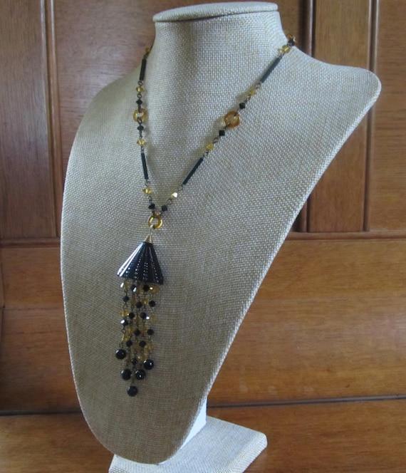 Art Deco Revival Czech Glass /& Brass Flapper Tassel  Necklace