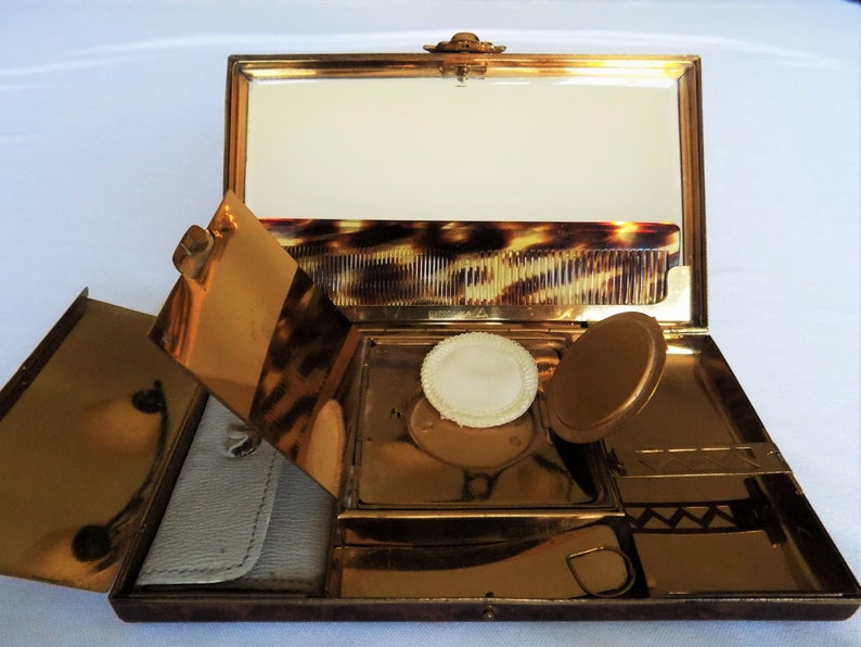Art Deco Carryall Compact Vanity Case Rare 1930s Entouka Enameled Brass Minaudiere Clutch Bag
