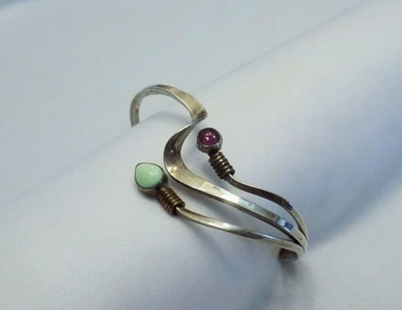 7ef05b8e166 Modernist Signed Navajo Sterling Cuff Bracelet Unique M. Lee | Etsy