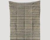 Moroccan Rug Carpet Berber - Handira Blanket - Black White - Long White Fringe - 7 39 8 quot x 3 39 6 quot (234cm x 107cm)