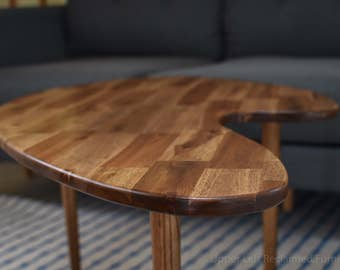 MCM Mid Century Inspired Coffee Table, Boomerang Style Version 1