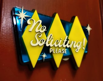 Laser Cutting Files - No Soliciting Sign - SVG/PDF only