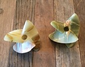 Green Brown Stone Agate Abstract Candleholders MCM Mid Century Vintage Retro Home Decor