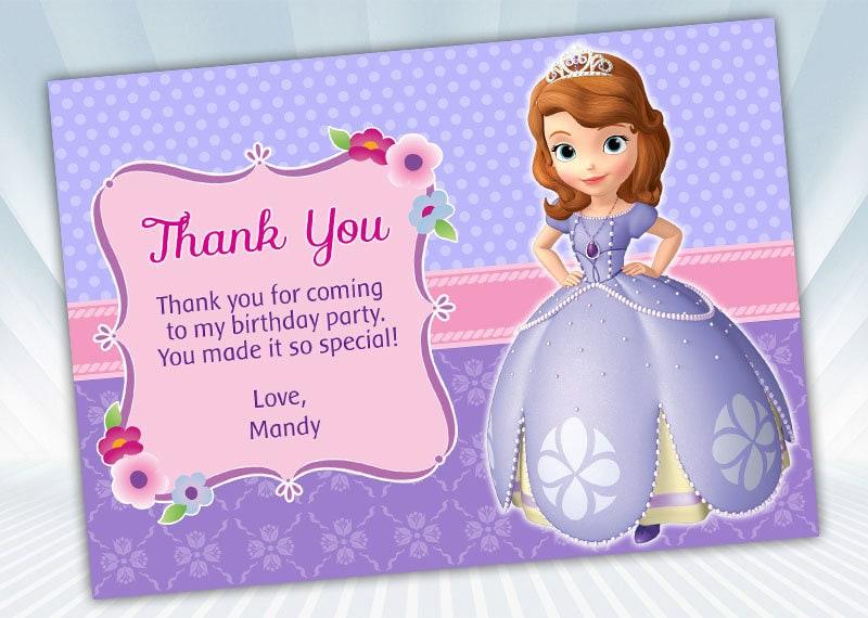 Princess Sofia Thank You Card Etsy
