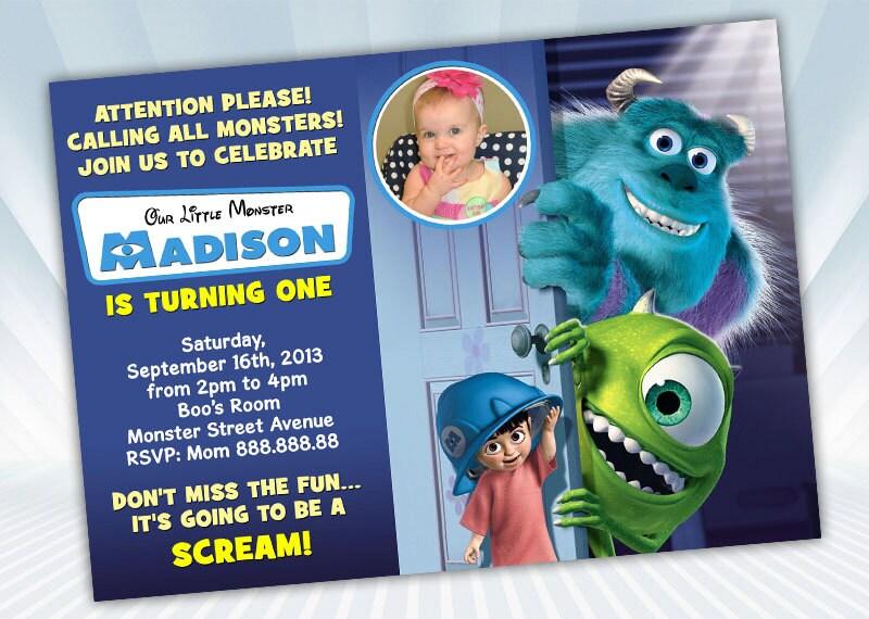 Monster Inc Birthday Invitation Etsy