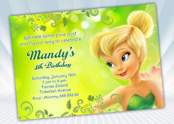 Tinkerbell Invitation Etsy