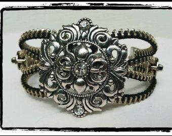 Edgy Metal Zipper Bracelet w/Rhinestones