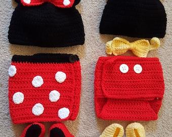 Crochet Mickey & Minnie-Inspired Twin Set