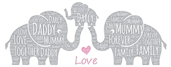 PERSONALISED Elephant Parent /& Child Word Art Wall Print Mother Day Mum Gift Nan