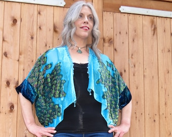En velours de soie Vintage Devore Burnout perles Style paon Kimono Batwing Top Stevie Nicks Emmylou Harris