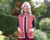 Vintage 1970s Reversible Quilted Indian Waistcoat Vest Body-warmer with Pockets and Toggle Fastening