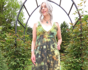 RESERVED FOR DIANA Vintage Green Floaty Tie-Dye Hippy Sundress with Crochet Trim and Elasticated Bust