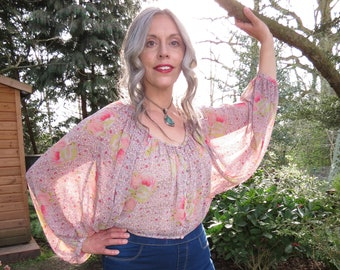 Vintage Kimono flottant manche Crop Top Stevie Nicks Style Boho