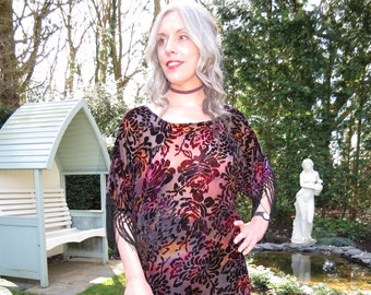 Style Vintage velours épuisement à franges Style Boho manches tunique Stevie Nicks Emmylou Harris