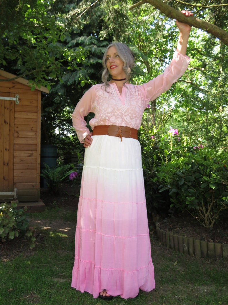 a31c8ac07d Vintage Candy Pink and White Ombre Dip-Dye Gypsy Peasant Maxi | Etsy
