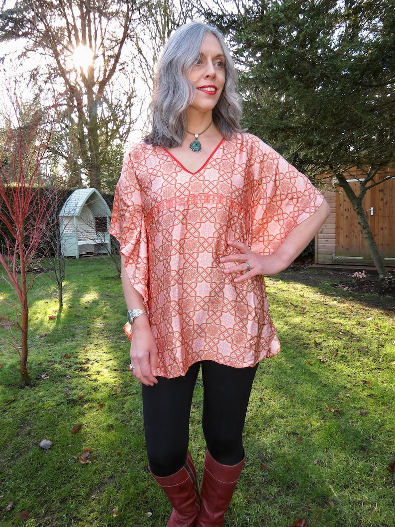 4fde4d20d1 Vintage Silk Peach Geometric Print Cape Sleeve Tunic Kaftan | Etsy