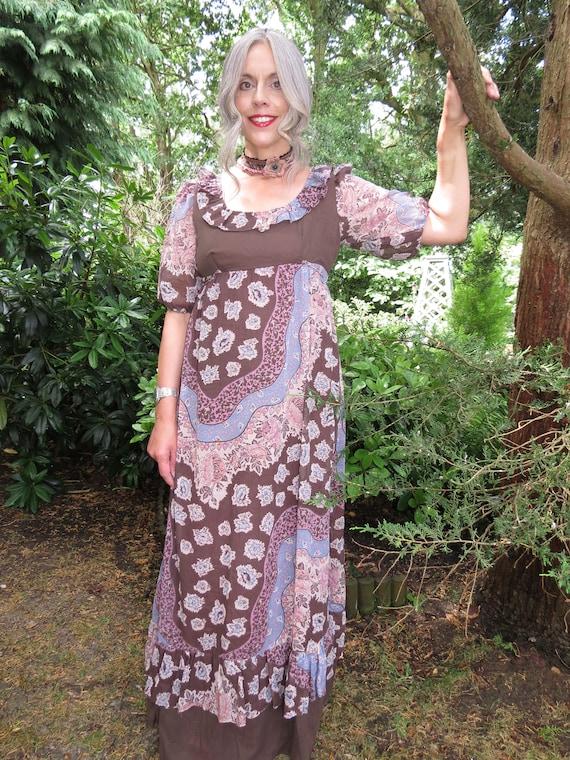 Vintage 1970s Cotton Gauze Maxi Prairie Dress by K