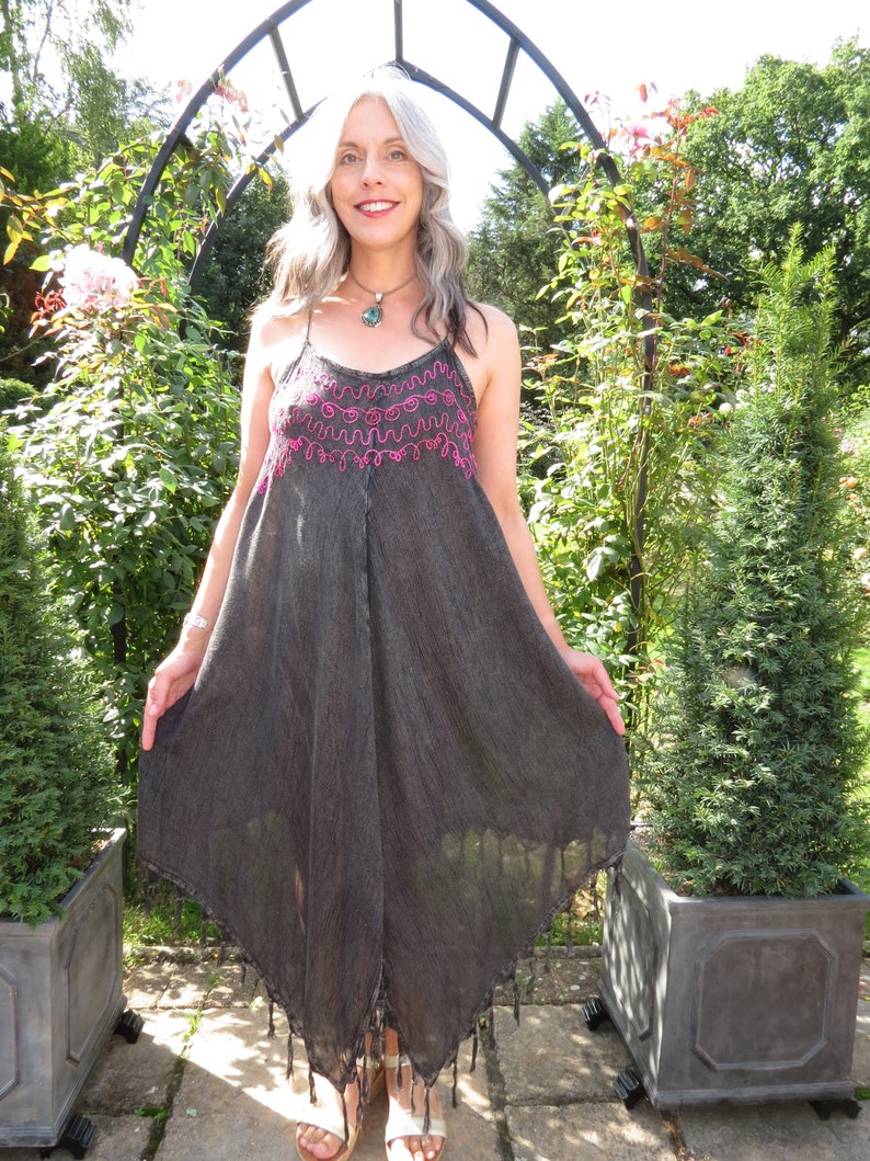 Vintage Indian Grey Asymmetric Hem Floaty Fringed Pixie Flower Fairy Sundress with Silky Embroidery and Adjustable Straps Freesize