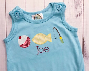 Fishing Row Applique Shirt or Bubble - Personalized, Embroidered, Boys Shirt