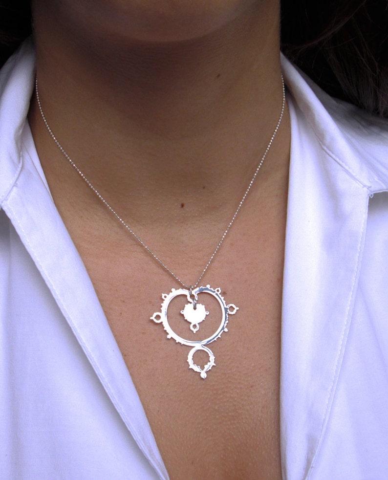 chandelier necklace silver Mandelbrot set \u2013 fractal \u2013 mathematics \u2013 science gift math