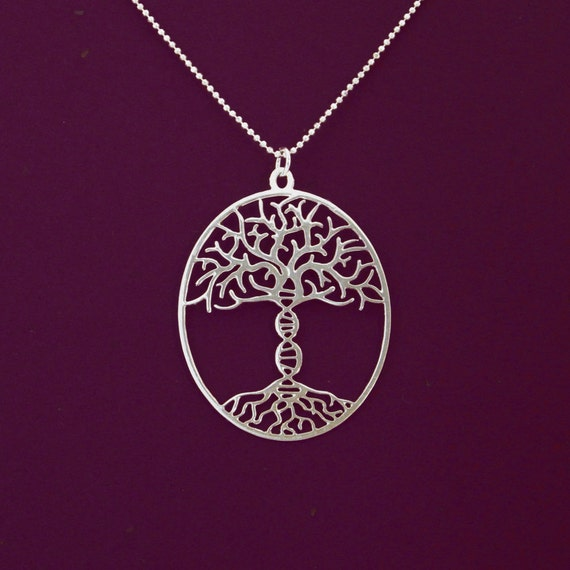 Tree Of Life With A Dna Trunk Necklace Sterling Silver Etsy