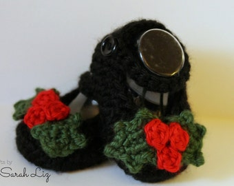 Christmas Mary Janes, Crocheted Mary Janes, Crocheted Baby Booties, Baby Girl Booties, First Christmas Shoes, Baby Mary Janes, Baby Shower