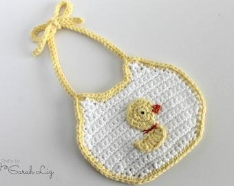 Ducky Baby Bib, Reversible Baby Bib, Crochet Baby Bib, Neutral Baby Bib, Drool Bib, Fancy Baby Bib, Baby Gift, Baby Shower, Lined Baby Bib