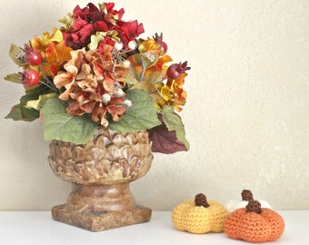 Set of 3 Crochet Pumpkins, Thanksgiving Decorations, Harvest Decorations, Autumn Decoration, Halloween Decorations, Fall Decorations