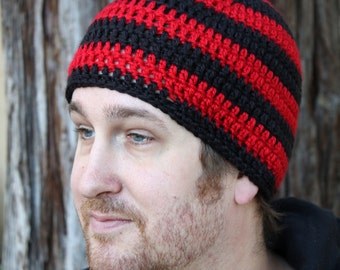 Black and Red Men s Striped Crochet Beanie 6d9b876c8ac