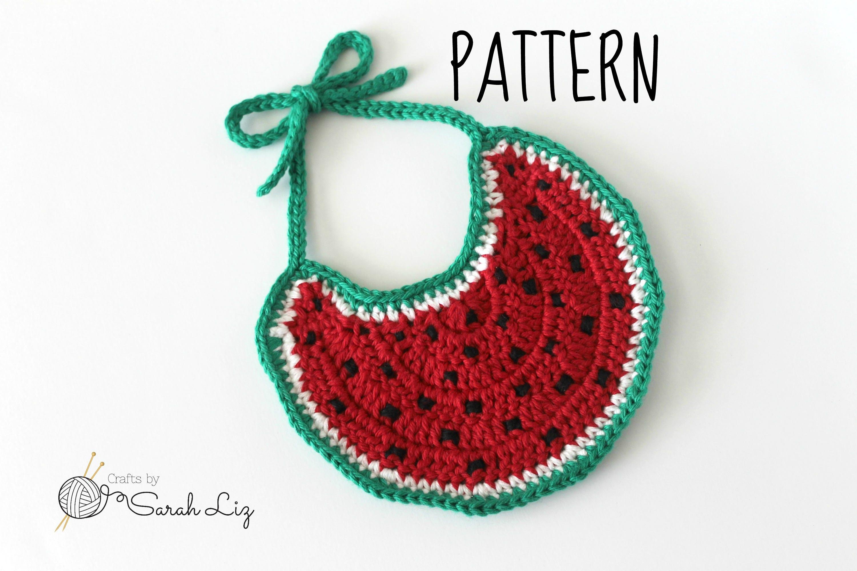 Pattern Crochet Watermelon Baby Bib Drool Bib Pattern Baby Etsy