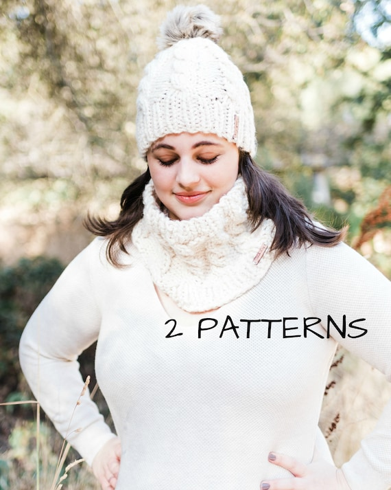 Knitting Patterns Bianca Hat Bianca Cowl Cable Knit Hat Etsy