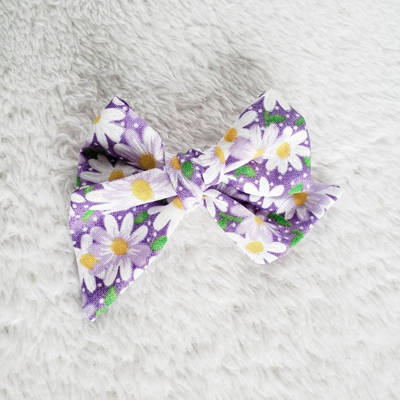 Bow Headband Daisy Hair Bows Sailor Bows Baby Hair Bows Floral Fabric Bow Daisy Baby Bow Floral Baby Bows Daisy Bows Schoolgirl Bows