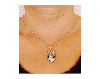 Sterling Silver and Copper Pendant Charm Necklace, Handmade, Ready to Ship