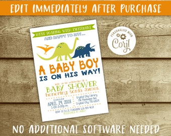 Dinosaur Baby Shower Invitation Etsy