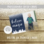 Photo Christmas Card with snow and pine trees, Believe in the Magic, customized, arrow, navy, any colors, holiday card, modern, simple, DIY