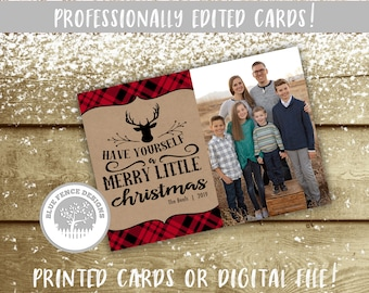 rugged photo christmas card with red plaid and a deer head printable christmas card multiple sizes available holiday card hunting cozy - Costco Holiday Cards