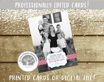 photo christmas card nonreligious customized multiple sizes available holiday card teal most wonderful time of the year digital - Costco Christmas Photo Cards