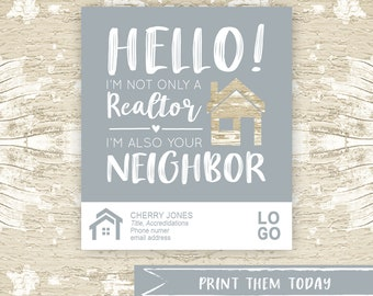 Neighbor Realtor Tag, Real Estate Pop by Printable Tag for  Real Estate Marketing