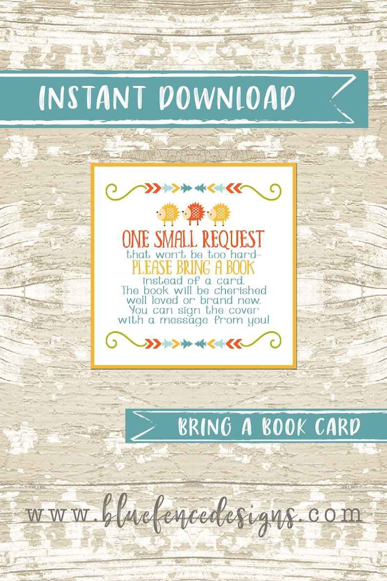 Woodland themed bring a book card insert baby shower image 0