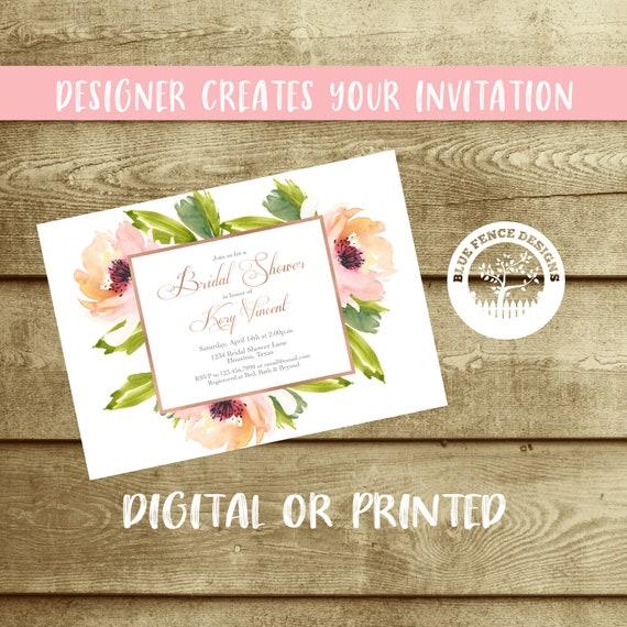Simple Floral Bridal Shower Invitation Garden Wedding Shower