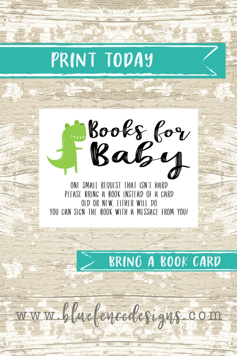 Dinosaur themed bring a book card insert image 0