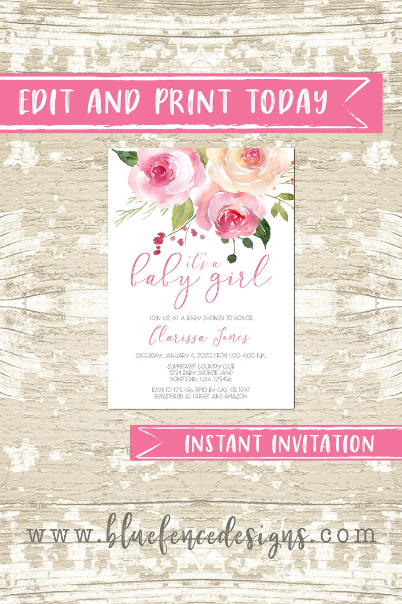 Blush Pink It's a Girl Floral Baby Shower Invitation DIY image 0