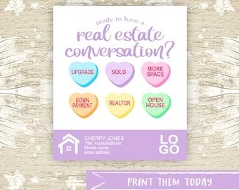 Valentine Pop by Tags, Real Estate Pop By Printable Tag, Realtor Marketing, Referral