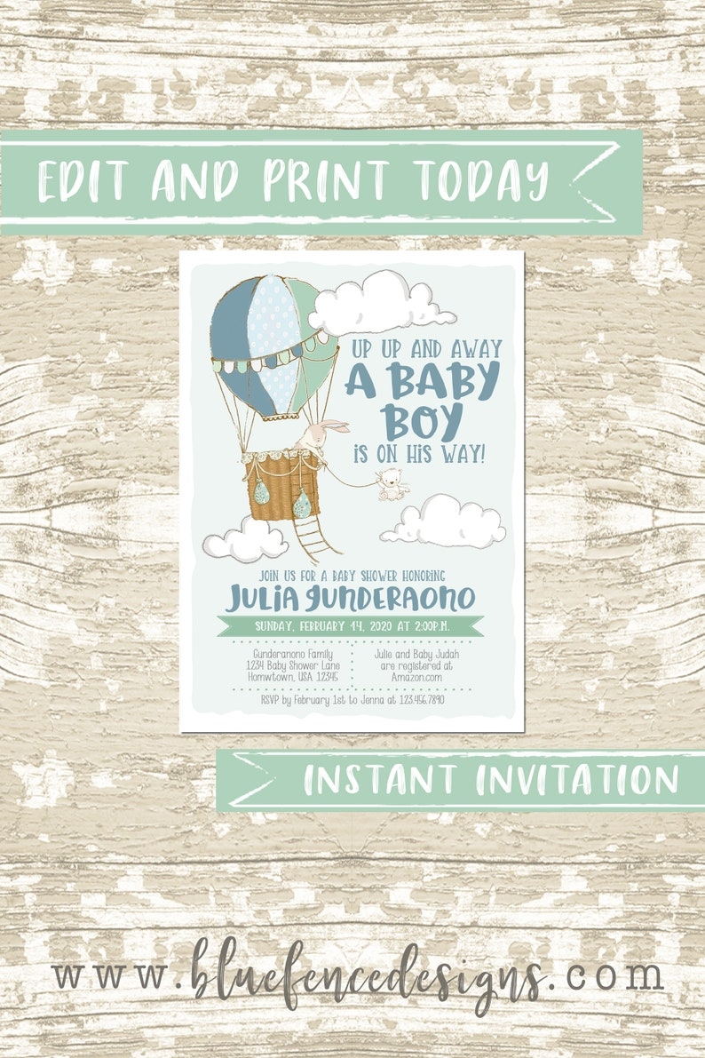Digital or Printed Boy Hot Air Balloon Baby Shower Invitation image 0