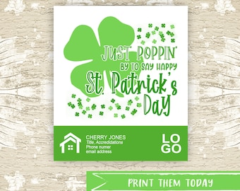 St. Patrick Popcorn Pop by Tags, Real Estate Pop By Printable Tag, March Realtor Marketing