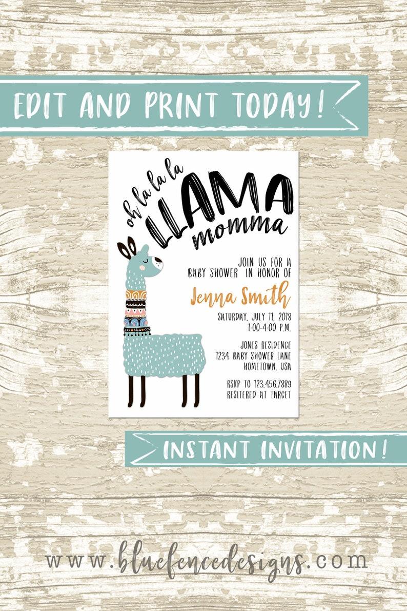 Llama Invitation Editable Llama Invitation Template Llama image 0
