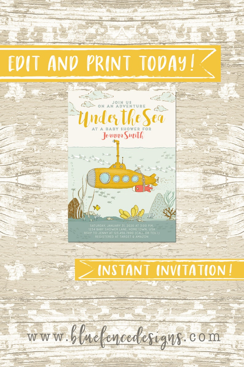 Under the Sea Submarine Baby Shower Invitation Template image 0