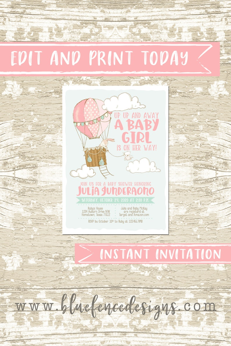INSTANT Hot Air Balloon Baby Shower Girl Shower Invitation  image 0