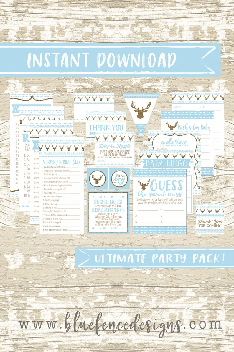 Gold and Baby Blue Oh Deer Boho Baby Shower Party Printable image 0