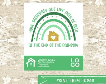 St. Patrick Pop by Referral Tags, Real Estate Pop By Printable Tag, March Realtor Marketing